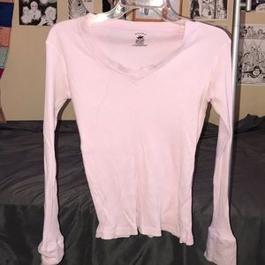 Solid white long sleeve tee